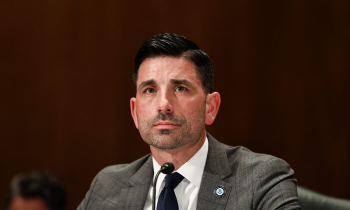 Acting Secretary of Homeland Security Chad Wolf testifies at a Senate hearing in Washington on March 4, 2020. (Charlotte Cuthbertson/The Epoch Times)