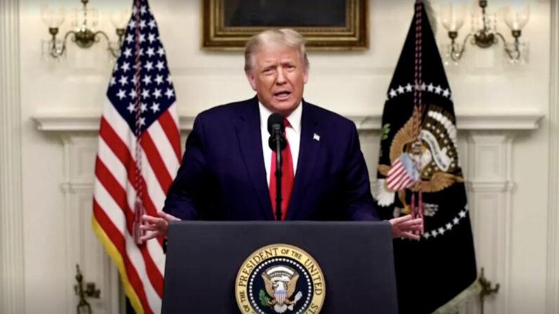 22일(현지시각) 도널드 트럼프 미국 대통령이 미국 뉴욕 유엔본부에서 열린 제75회 총회에서 사전 녹화로 연설하고 있다. | 로이터=연합뉴스