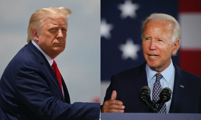 공화당 대선후보인 도널드 트럼프 미국 대통령(왼쪽)과 민주당 대선후보인 조 바이든 전 부통령(오른쪽) | Jim Watson/AFP via Getty Images; Spencer Platt/Getty Images