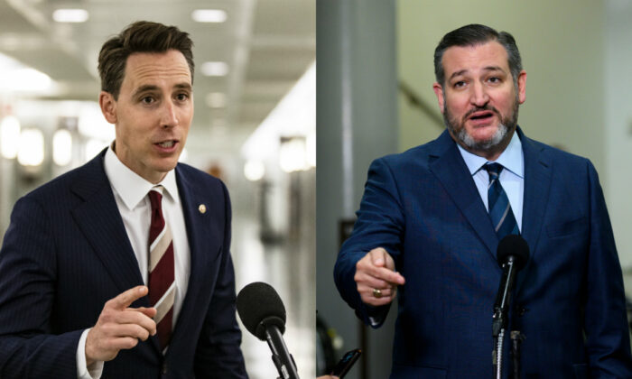 Sens. Josh Hawley (R-Mo.) and Ted Cruz (R-Texas) in file photographs. (Getty Images)