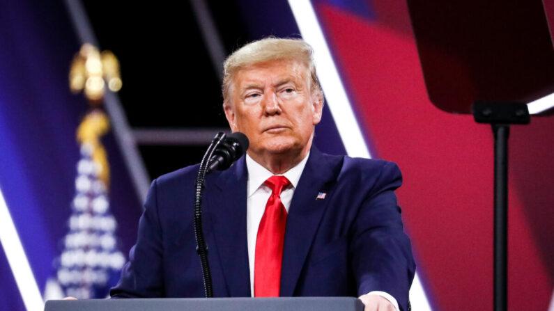 도널드 트럼프 당시 대통령이 2020년 2월 29일 미국 메릴랜드주 내셔널하버에서 열린 2020 보수연합 정치행동(CPAC)에서 연설하고 있다. | Samira Bouaou/The Epoch Times