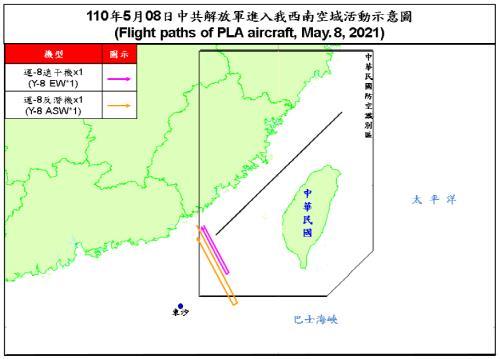 8일 대만 ADIZ 진입한 중국 군용기의 비행 궤적