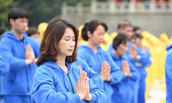지난 5월 1일 대만 타이베이 자유광장에서 열린 파룬궁 수련자들의 기념행사 | 제임스 선/에포크타임스