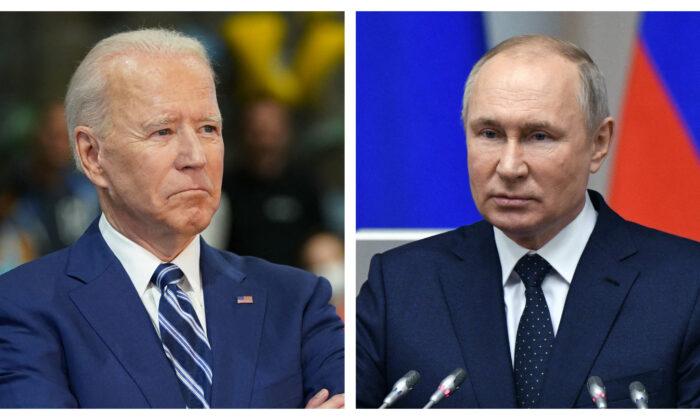 조 바이든 미국 대통령(왼쪽)과 블라디미르 푸틴 러시아 대통령(오른쪽)   Mandel Ngan / AFP via Getty Images/연합; Alexei Danichev/Sputnik/AFP via Getty Images/연합
