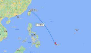 대만과 팔라우 간의 비행 시간(약 3시간 50분)